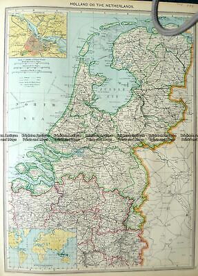 Antique Map 5-165 Holland or The Netherlands by Halmsworth c.1905