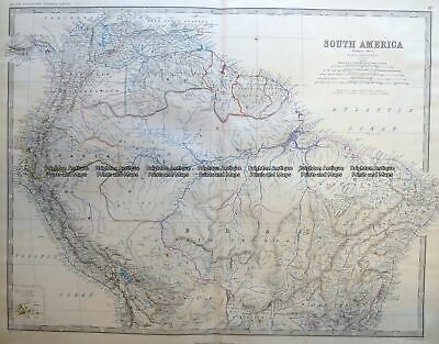 Antique Map 8-004 South America - northern part by Johnston c.1864
