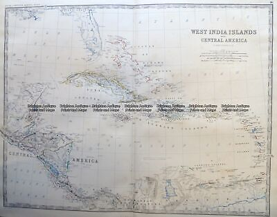 Antique Map 8-002 West Indies by Johnston c.1864