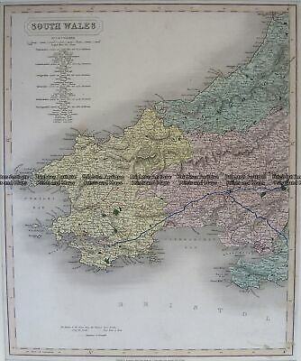 Antique Map 4-198 Wales - Southern Counties by Longman c.1836