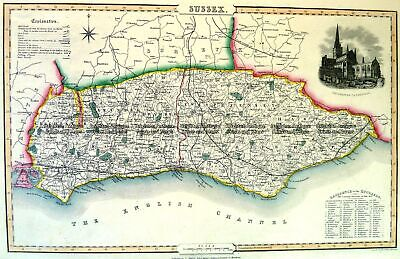 Antique Map 4-195 Sussex England by I. Slater c.1846