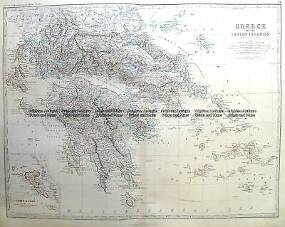Antique Map 3-398 Greece and Ionian Islands by Johnston c.1864