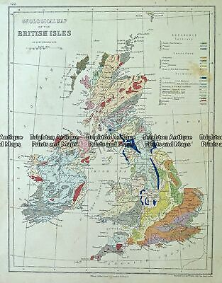 Antique Map 232-107 Geological map of Britain by Weller c.1874
