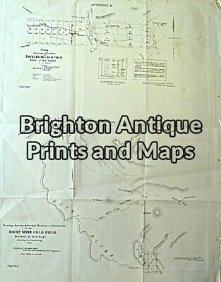 Antique Map 230-818 Gold Field map of Rocky River c.1860