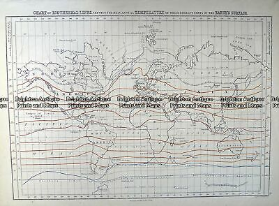 Antique Map 232-575 World - Isothermal Lines by Black c.1862