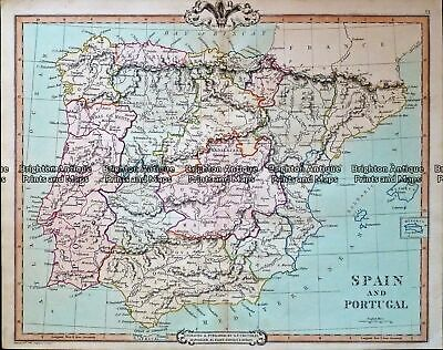 Antique Map 232-409 Spain by Cruchley c.1834