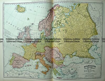 Antique Map 233-219 Europe by Rand McNally c.1894