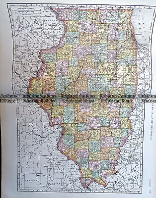 Antique Map 233-221 Illinois by Rand McNally c.1894