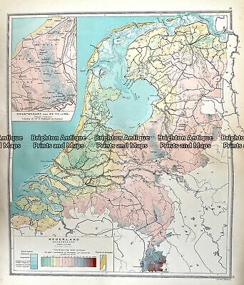 Antique Map 233-341 Holland - Hoogtekaart by Wolters c.1929