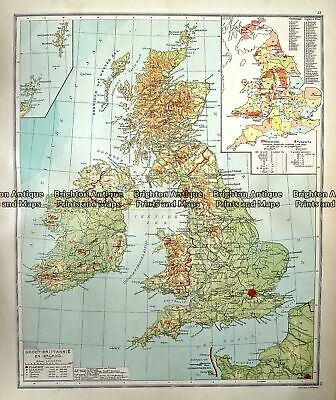 Antique Map 233-348 Groot Britannia en Ierland by Wolters c.1929