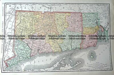 Antique Map 233-250 Connecticut USA by Rand McNally c.1894