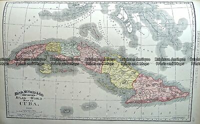 Antique Map 233-257 Cuba by Rand McNally c.1894