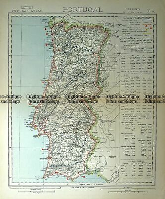 Antique Map 233-358 Portugal by Letts c.1880