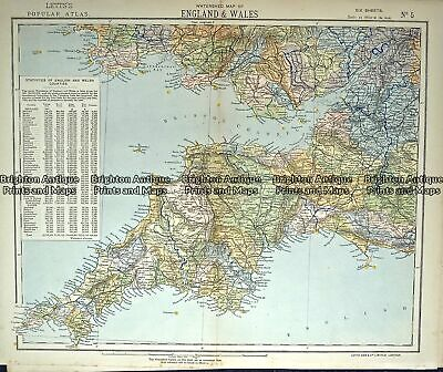 Antique Map 233-363 England - Cornwall, Somerset, Devon by Letts c.1880