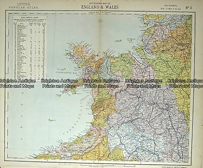 Antique Map 233-364 Wales - northern by Letts c.1880
