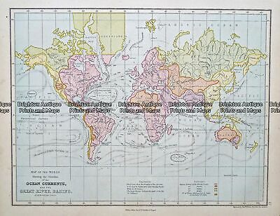 Antique Map 233-393 World - showing Ocean currents by Weller c.1874