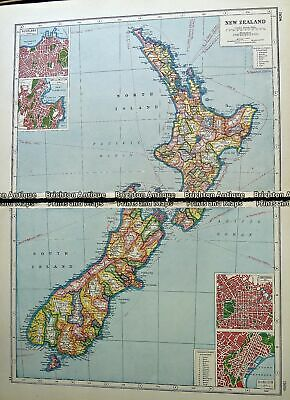 Antique map - New Zealand by Harmsworth c.1920 Ref# 232-905