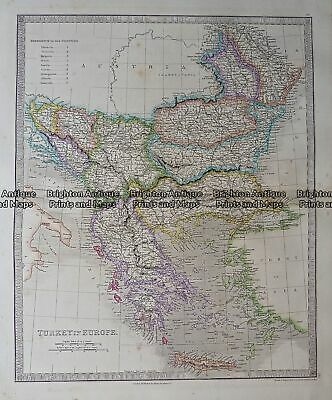 Antique Map - Turkey in Europe by Teasdale c.1847 Ref: 237-126