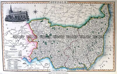 Antique Map 4-186 County of Suffolk England c.1846