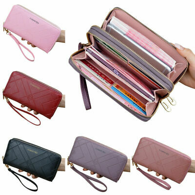 Women Clutch Leather Wallet Long Card Holder Phone Lady Case Bag Purse S Ha H7U3