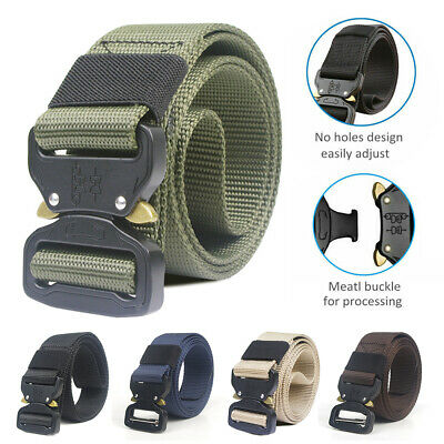 Mens Heavy Duty Tactical Soldier Military Belt Web Combat Army Training Belt