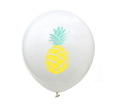 """12 PACK Pineapple Print Balloons Decorations 12"""" Fruit Themed Tropical Party"""