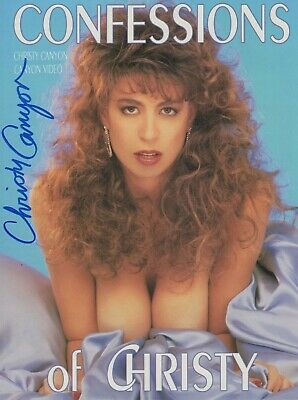 CHRISTY CANYON Signed 8.5x11 Photo ad slick! RARE 2-sided version Autograph AVN