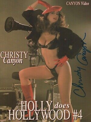 CHRISTY CANYON Signed 8.5x11 Photo ad slick! RARE 2-sided version! Autograph AVN