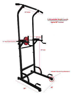 X Factor Power Tower Pull Up Chin Up Dip Station Heavy Duty 65 Pound Frame 8 FT