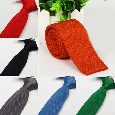 Solid Skinny Slim Knitted Necktie Mens Tie Wedding Jacquard Woven Neckwear Soft