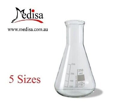 Laboratory Glass Erlenmeyer Conical Flasks, Borosilicate Glass, 5 Sizes, One pc