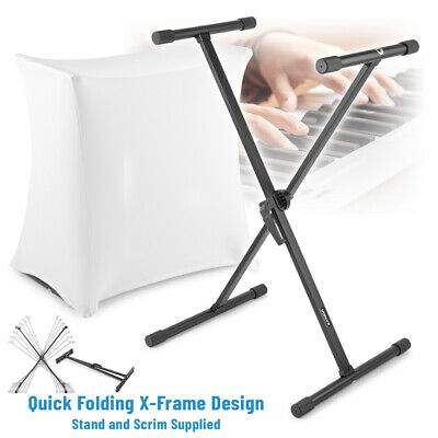 Electronic Piano Music Keyboard Stand Portable Adjustable X Frame with Scrim