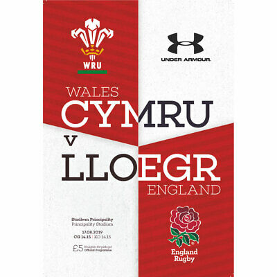 Wales V England International 17/8/2019 Programme