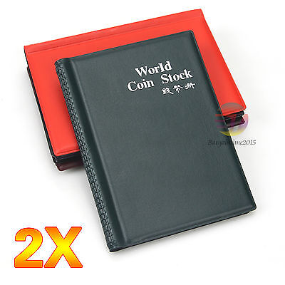 2x 120 Coin Holder Collection Album Money Storage Pockets Penny Book Collecting