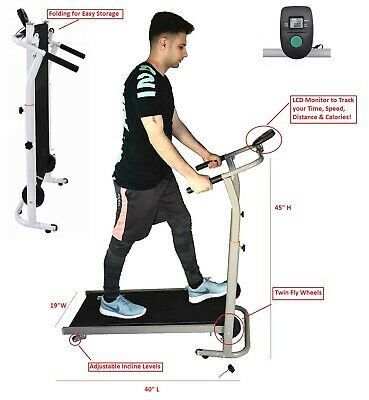 Manual Treadmill 6.0 Walking Running Incline Cardio Exercise Fitness 2 Fly Wheel