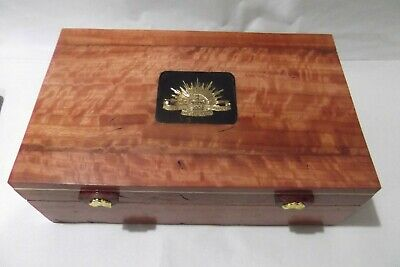 Red Gum Document Box With Australian Army Inset On Lid