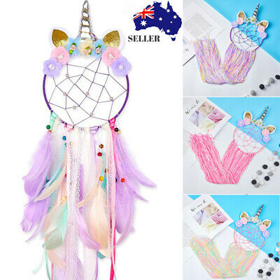 Handmade Colorful Unicorn Wall Hanging Dream Catcher Girl Bedroom Home Decor AU