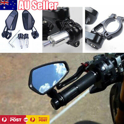 2pcs 7/8'' Motorcycle Rear View Handle Bar End Side Rearview Mirror Universal AU