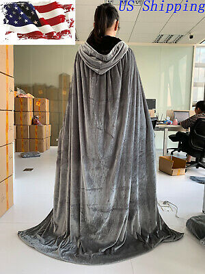 Hooded Velvet Halloween Cloak Medieval Wicca Wizard Witch Cape Cosplay US Ship
