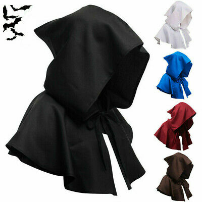Halloween Cosplay Death Cape Short Hood Cloak Wizard Witch Medieval Cape Unisex