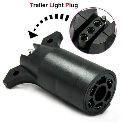 7 Way Trailer Light Adapter Plug Connector Round to 4 Pin Flat RV Boat