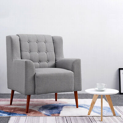 Modern Grey Fabric Linen Armchair Upholstered Accent Lounge Tub Chair Cushion