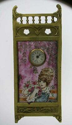 Edwardian Gilt Brass and Enamel Art Nouveau Clock Paris 1900