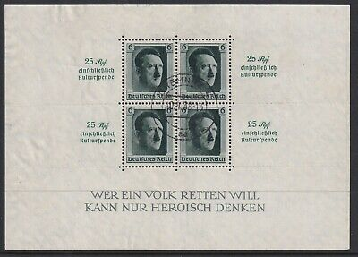 GERMANY 1937 HITLER'S CULTURE FUND AND 48th BIRTHDAY SG M/S 637 USED.