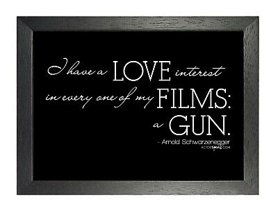 I Love Films - Arni Quote Schqarzenegger Film Black & White Print Poster