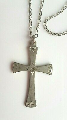 Antique Sterling Silver Ornate Crucifix Cross Statement Pendant Necklace  N64