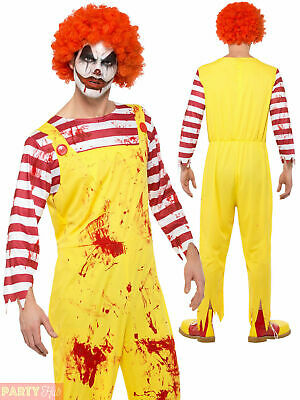 Adult ZOMBIE Ronald The Clown Red /& Yellow Fancy Dress Burger Mcdonald Costume