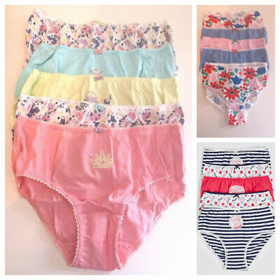 New M&S Girls 5 Pack Cotton Briefs Knickers Age 5 -12 Years Assorted Patterns