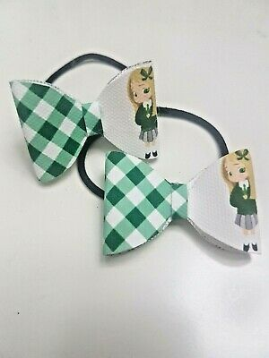 School Hair Bow Bobbles - (Blonde Hair) Gingham Check Red/Green/Blue