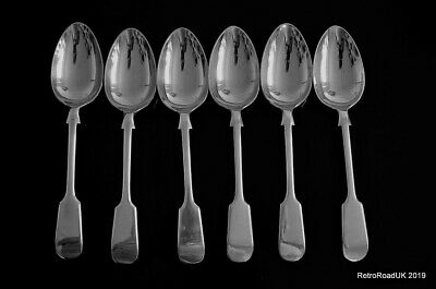 Antique 6 Silver Plated 18cm Dessert D&A Fiddle Spoons: Cutlery